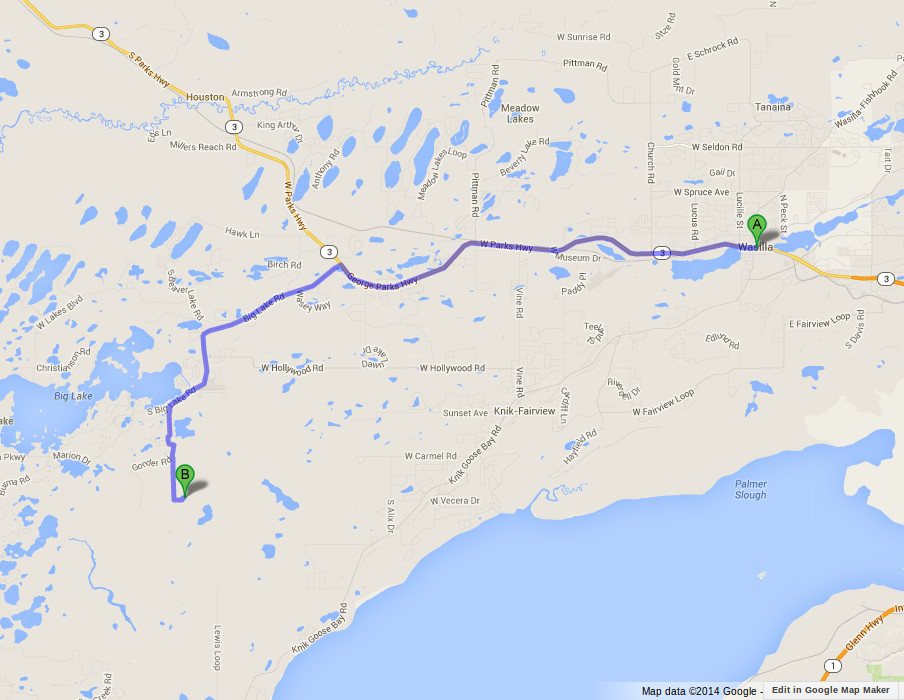 Map showing Wasilla to our house in Big Lake